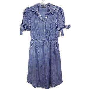 Monteau Striped Bow Tie Cap Sleeve Dress